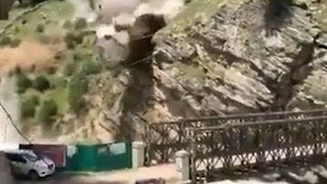 A rockfall killed nine tourists in India.