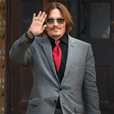 Johnny Depp departs the Royal Courts of Justice, Strand on July 21, 2020 in London, England.