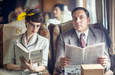 Tuppence Beresford (Jessica Raine) and Tommy Beresford (David Walliams) in Partners In Crime