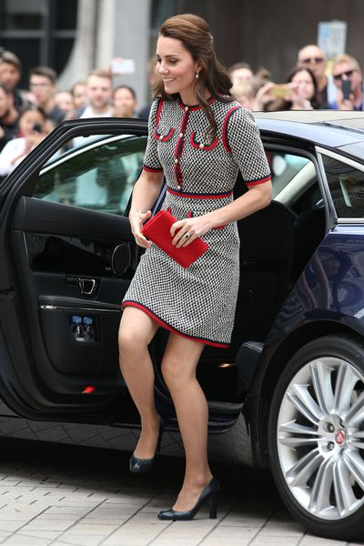 The Duchess of Cambridge in Gucci at the Victoria and Albert Museum in London.