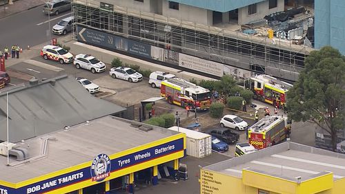 A man and a teenager has been injured in a scaffolding collapse in Sydney's west.