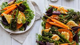 Roast pumpkin, beetroot and haloumi salad with pine nuts