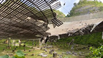Arecibo Observatory damaged by broken cable in Arecibo, Puerto Rico.