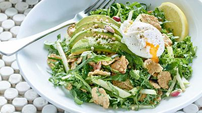 """Recipe: <a href=""""http://kitchen.nine.com.au/2016/10/20/10/56/gluten-free-breakfast-salad-with-poached-egg-and-avocado"""" target=""""_top"""">Gluten free breakfast salad with poached egg, kale and avocado</a>"""