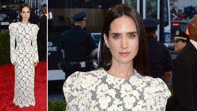 Actress Jennifer Connelly wore a lace Louis Vuitton sheath dress and looked ready for battle. (AAP)