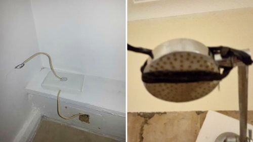 Customer photos of exposed wiring and a broken shower head in a Redan Apartment.