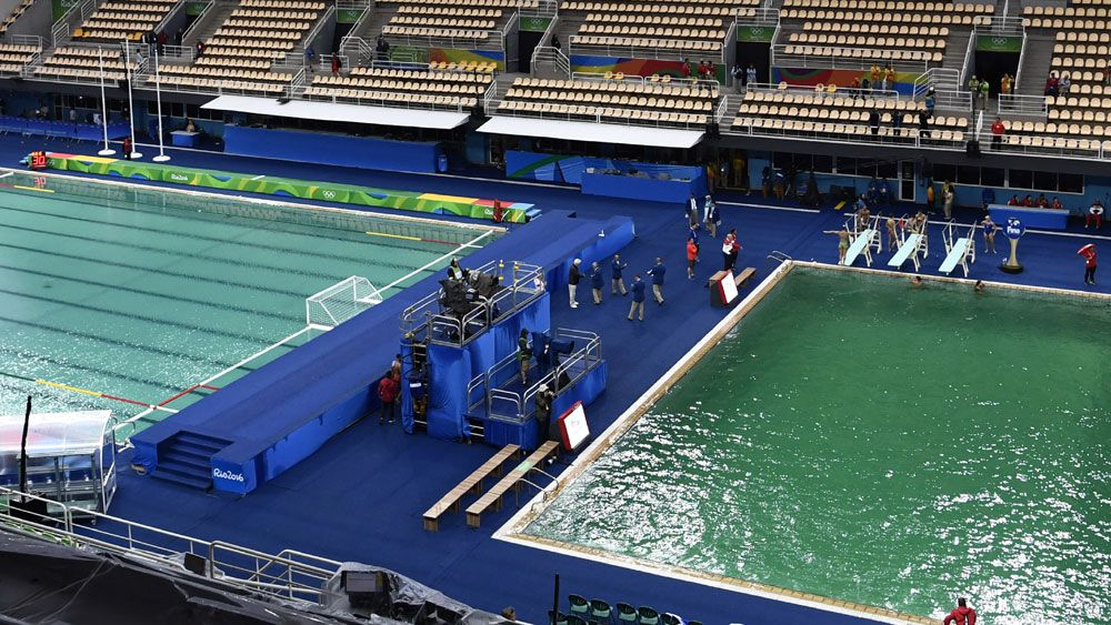 The water polo and diving pools in Rio. (AFP)