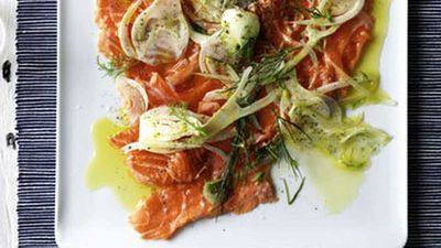 "Recipe: <a href=""http://kitchen.nine.com.au/2016/05/19/15/37/ocean-trout-carpaccio-with-fennel"" target=""_top"">Ocean trout carpaccio with fennel</a>"
