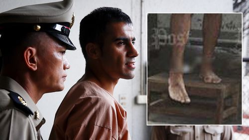 Thai media, including the Bangkok Post (inset), airbrushed the leg restraints worn by the footballer.