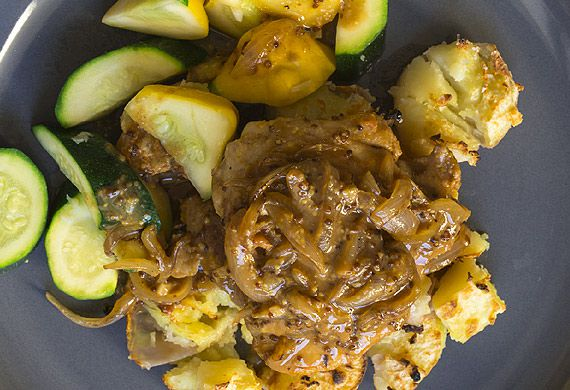 Honey mustard chicken with crispy smashed potatoes and squash medley