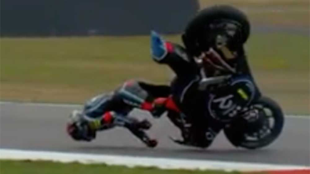 MotoGP: Moto2 rider's face plant captured in slow motion footage