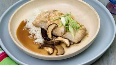 "Recipe:&nbsp;<a href=""http://kitchen.nine.com.au/2017/04/13/12/17/steamed-barramundi-fillets-with-lime-ginger-and-shiitake"" target=""_top"">Steamed barramundi fillets with lime, ginger and shiitake</a>"