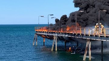 A jetty caught fire in Adelaide.