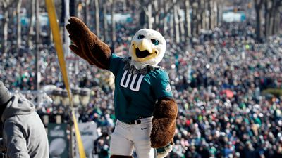 "Philadelphia Eagles mascot ""Swoop"" reacts with the fans behind him in front of the the Philadelphia Museum of Art. (AAP)"