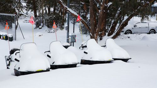 Another 50cm of snow fell at the ski field overnight. (Thredbo)