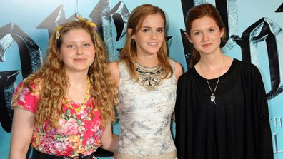 (L-R) Jessie Cave, Emma Watson and Bonnie Wright pose during the photocall of 'Harry Potter and the Half-Blood Prince', at Claridge's Hotel on July 6, 2009 in London, England