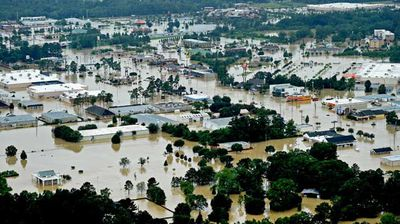 The town of Denhamp Springs, almost completely underwater. (AP)