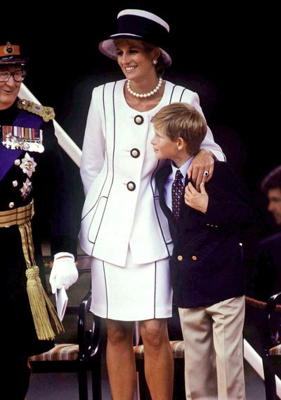 Diana, Princess of Wales in a suit byTomasz Starzewski and a hat by Philip Somerville for VJ Day Celebrations, August 1995