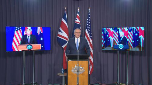 Prime Minister Scott Morrison announced the new defence pact in a joint virtual media conference with Joe Biden and Boris Johnson.