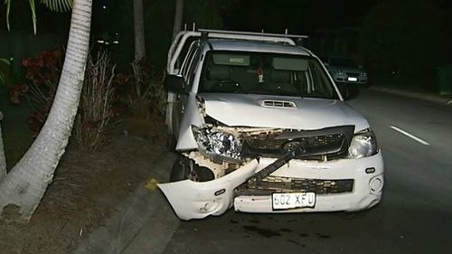 The ute was damaged in the rampage. Picture: 9NEWS