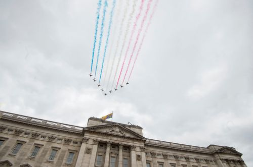 """""""I remember the Battle of Britain being fought in the skies above us and we shall never forget the courage and sacrifice of that time,"""" the Queen said. Picture: AAP"""