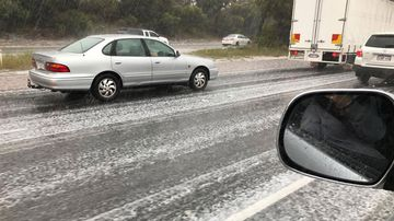 Hail on the freeway.