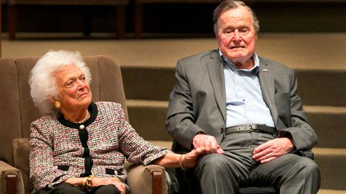 George Bush and his wife Barbra in March last year, just before she died.