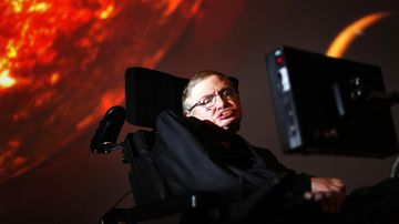 Stephen Hawking, who has died in March, pictured in 2010 watching the first preview of his new show for the Discovery Channel, Stephen Hawking's Universe.