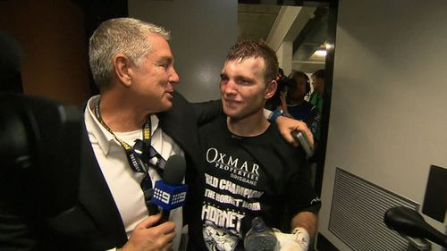 Williams and Horn share a moment after the stunning win. (9NEWS)