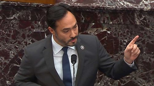House impeachment manager Rep. Joaquin Castro speaks during the second impeachment of Donald Trump.