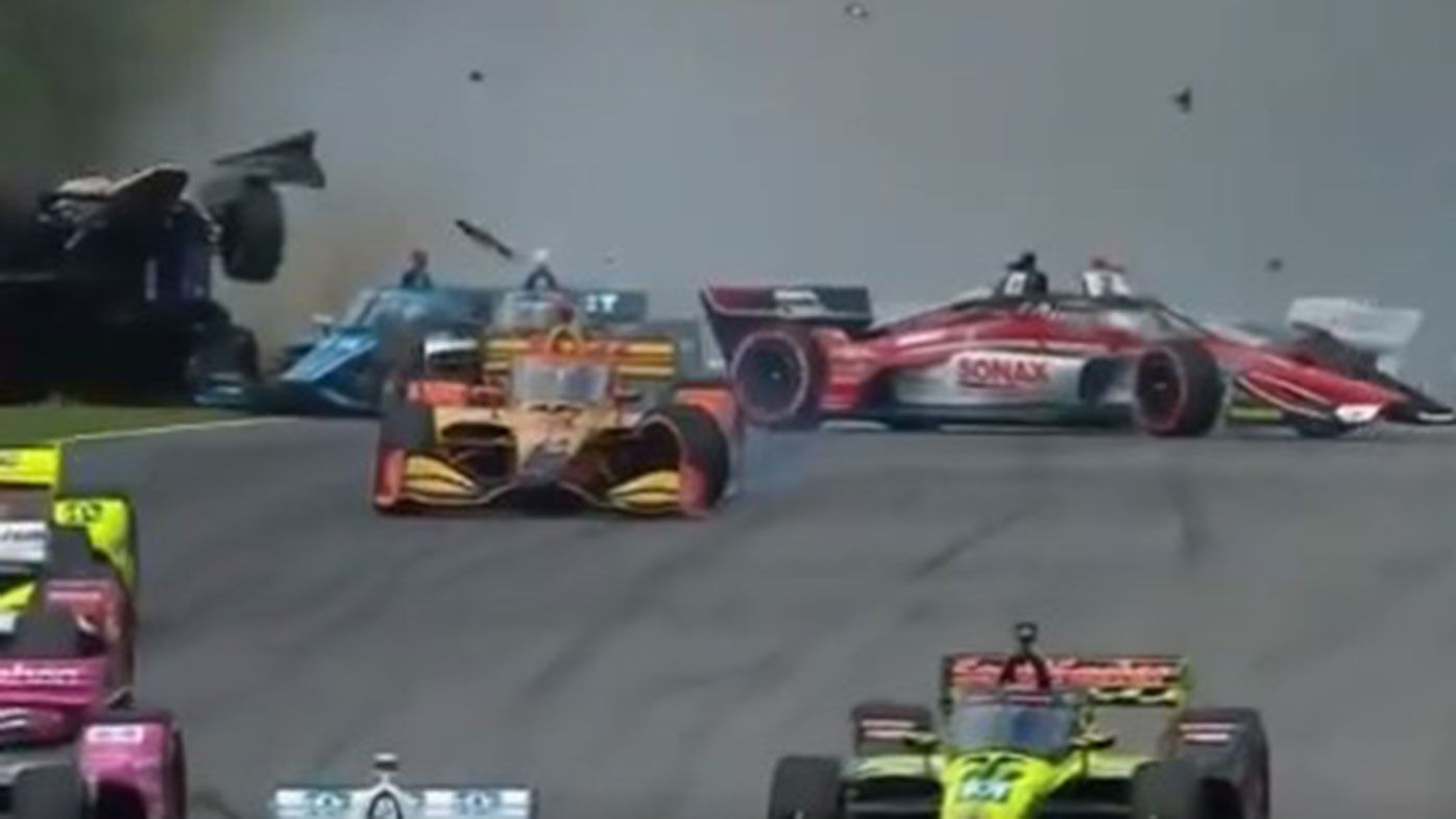 A huge first lap crash marred the season-opening IndyCar race at Barber Motorsports Park.