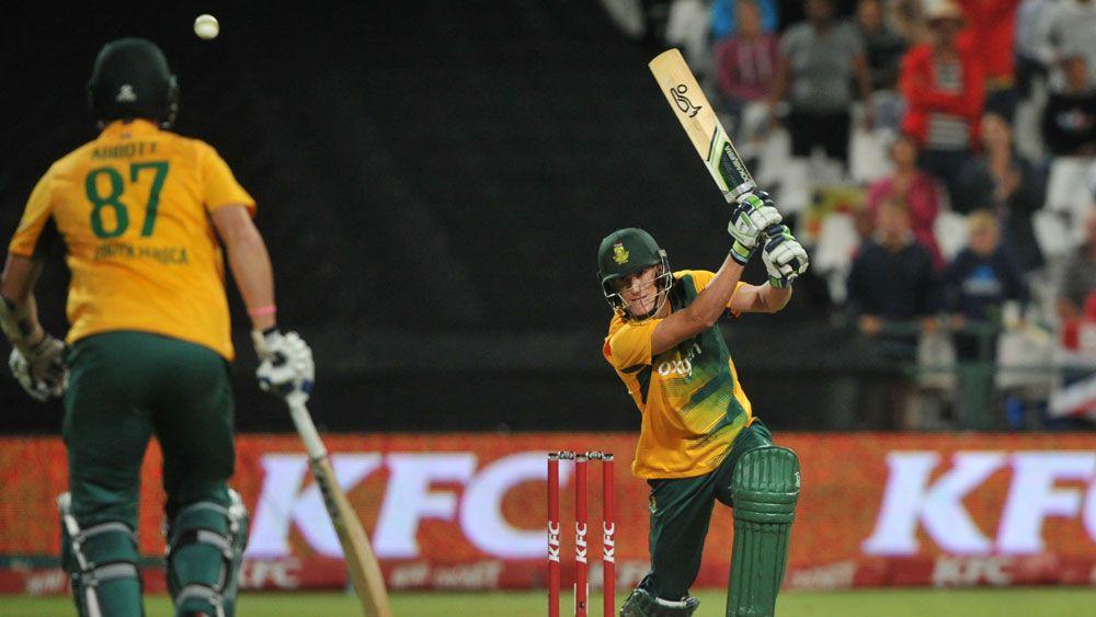 Chris Morris strikes a boundary for South Africa against England. (AFP)