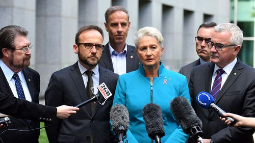 Crossbenchers Derryn Hinch, Adam Bandt, Nick McKim, Kerryn Phelps, Tim Storer and Andrew Wilkie at a press conference