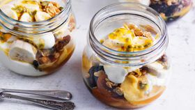 Breakfast banana trifle jars