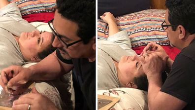 husband glues wifes eyelashes