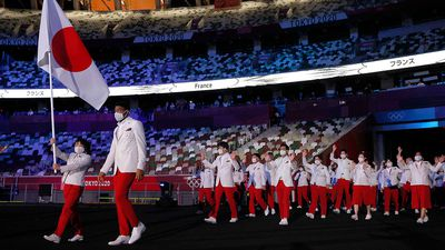 Japan enters the stadium