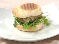 Lamb burger with smokey eggplant hommos