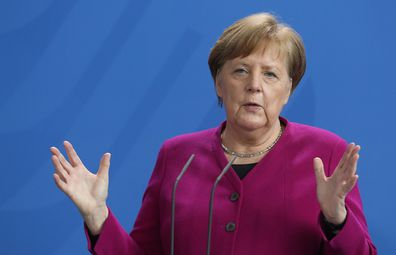 German Chancellor Angela Merkel speaks about the government's response to coronavirus on April 9.
