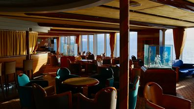 Interior dining space of a cruise ship