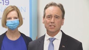 Health Minister Greg Hunt and former Prime Minister Julia Gillard.