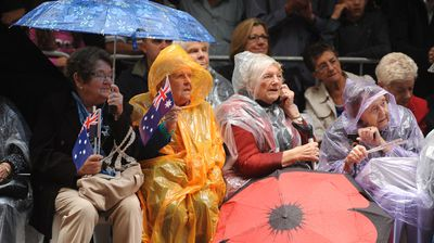 Part of the crowd watching the Anzac Day march in Sydney. (AAP)