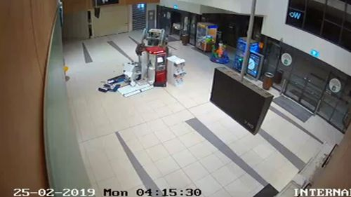 Detectives have released CCTV of the moment the thieves drove the bobcat into the ATM bank.