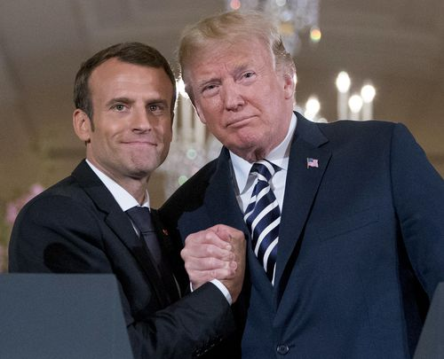 Presidents Donald Trump and Emmanuel Macron have bonded over their nation's efforts in the Middle East. (AAP)