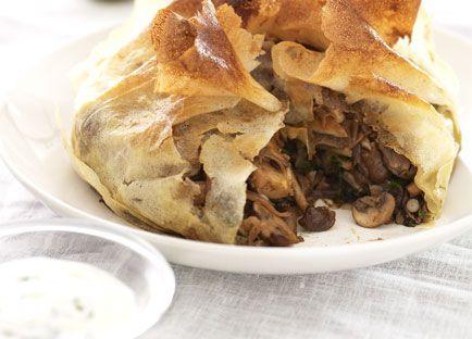 Baharat-spiced mushroom and silverbeet pie