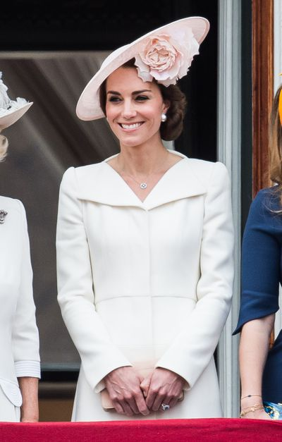 The Duchess of Cambridge paired the same frock with a blush head piece at the 2016 Trooping The Colour event to celebrate the Queen's birthday.