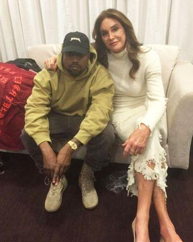 Caitlyn Jenner, Kanye West, backstage, selfie, Instagram