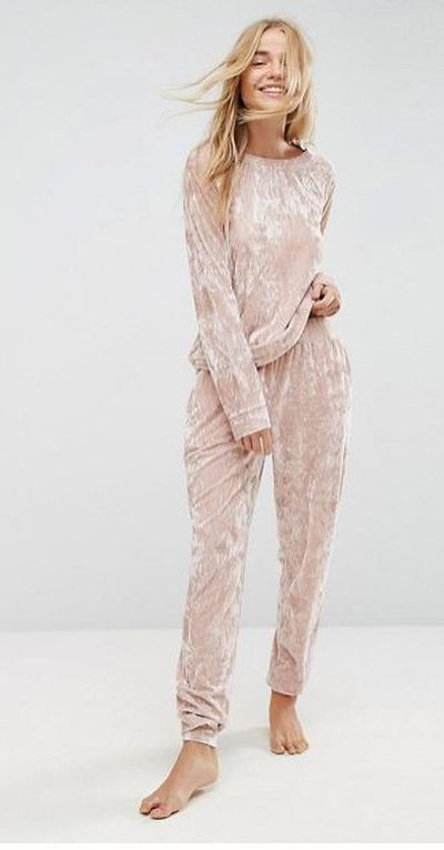 "<p><a href=""http://www.asos.com/au/asos-lounge-crushed-velvet-sweat-and-jogger-set-in-nude/grp/17440?clr=velvetnude&SearchQuery=&cid=21867&gridcolumn=3&gridrow=13&gridsize=4&pge=1&pgesize=72&totalstyles=109"" draggable=""false"">ASOS Lounge crushed velvet sweat and jogger set in nude</a> - sweat, $36, and jogger, $40</p> <p> </p>"
