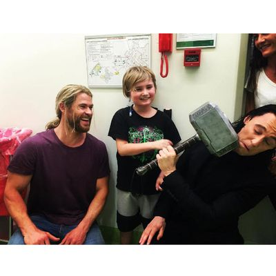 Chris and Tom delighted kids at a Brisbane children's hospital