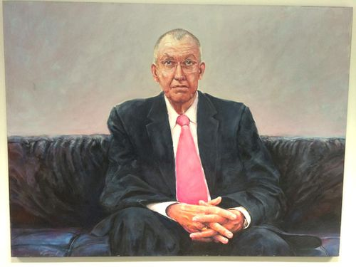 A painting of Peter Harvey hangs in the Sydney newsroom.