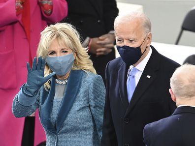 President-elect Joe Biden and his wife Jill Biden arrive for the 59th Presidential Inauguration at the U.S. Capitol for Biden in Washington, Wednesday, Jan. 20, 2021. (Saul Loeb/Pool Photo via AP)